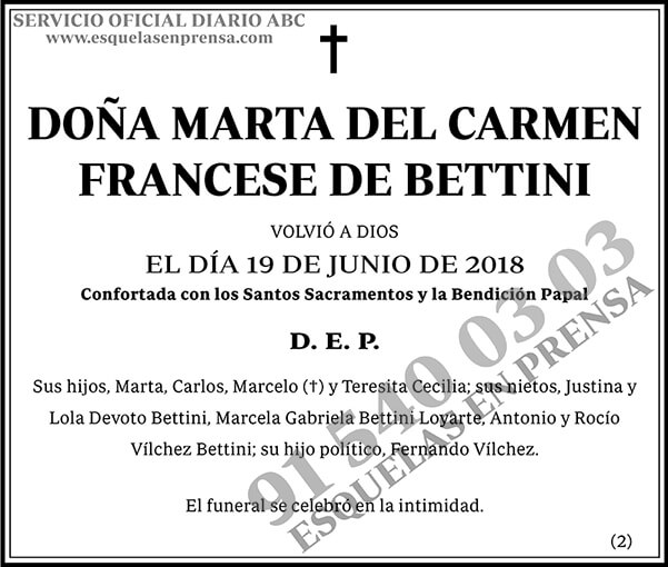 Marta del Carmen Francese de Bettini
